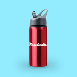 600ml Aluminium Water Bottle with Straw