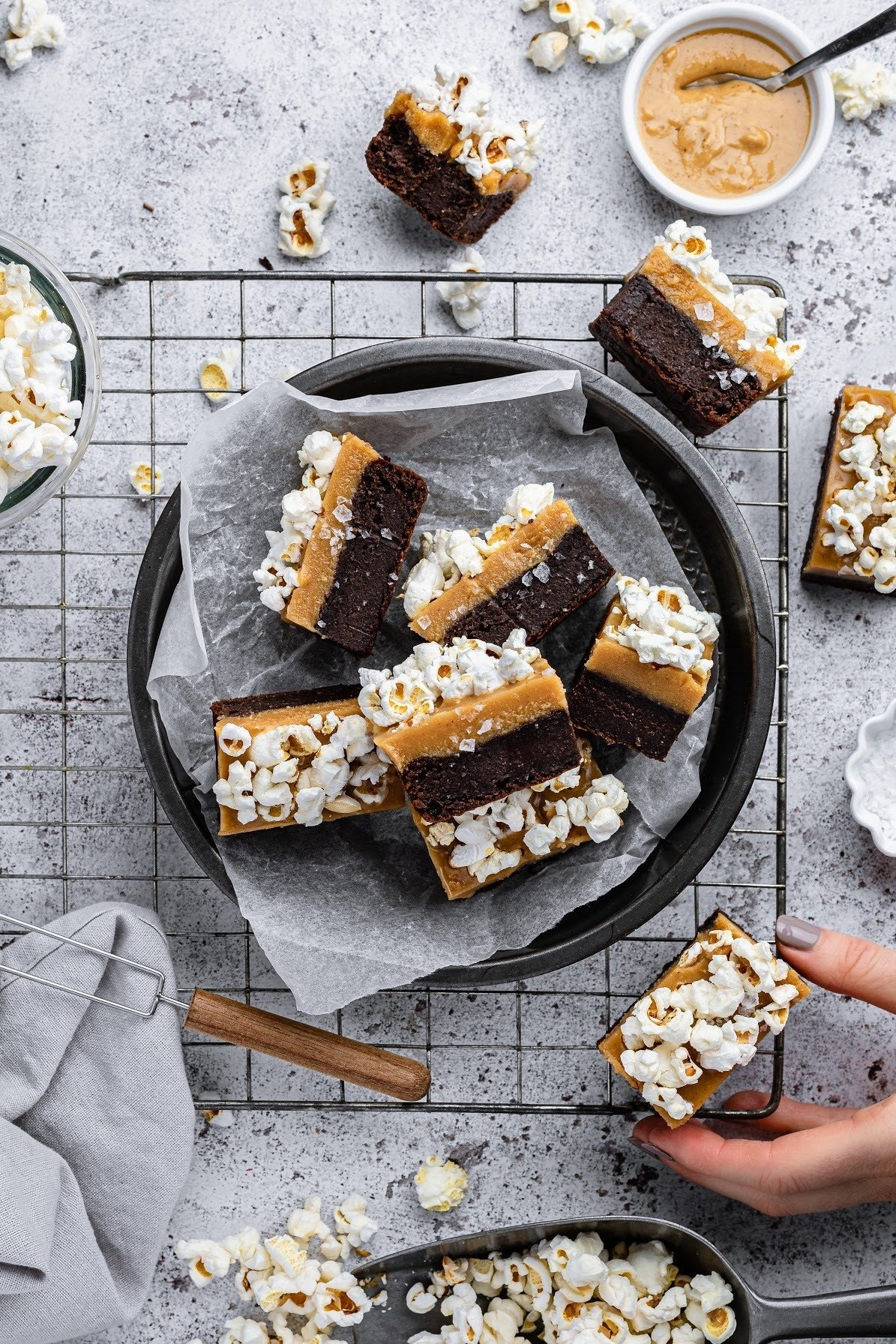 Gooey Caramel Popcorn Topped Brownies
